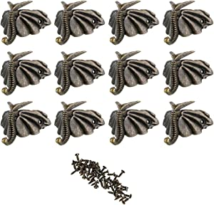 OwnMy 12 PCS Antique Brass Jewelry Box Feet Leg Wood Case Corner Protector Decorative Furniture Legs for DIY Jewelry Chest Gift Box Wood Box (Elephant Feet)