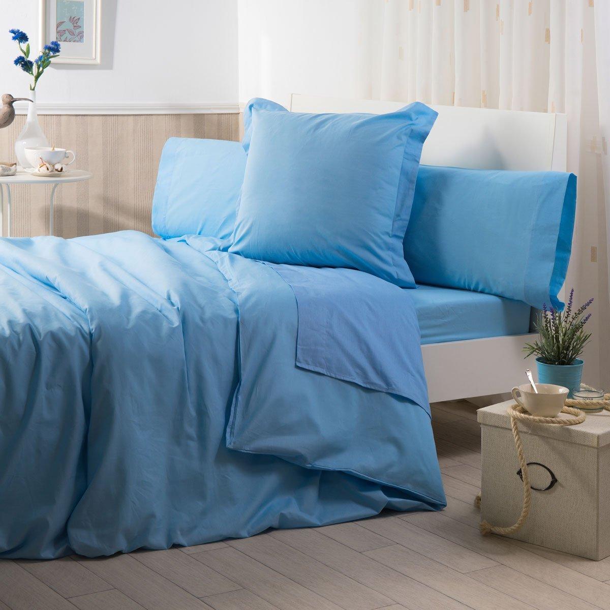 Sancarlos - Funda nórdica lisa, 100% Algodón, Color azul, Cama de 105 cm: Amazon.es: Hogar