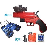 IndusBay® PUBG Pistol Flare Gun Toy Gun Set with Water Crystal Soft Bullets , Binoculars Self Load Toy Gun for Kids Boys