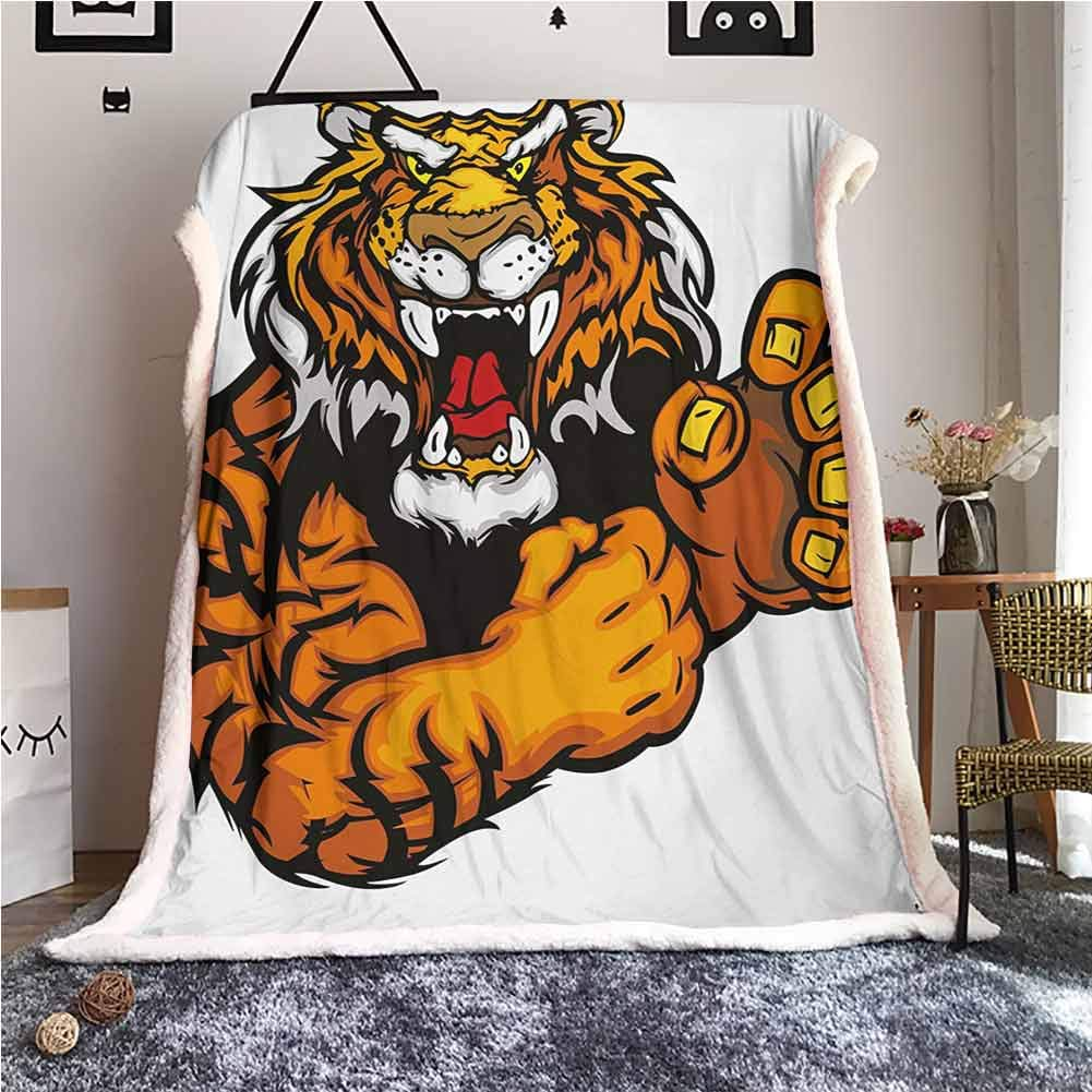 Cranekey Tiger Sherpa Fleece Blanket Cartoon Styled Very Angry Muscular Large Feline Mascot Animal Growling Print Sherpa Fleece Throw Blanket Black and Orange W59xL47 inches