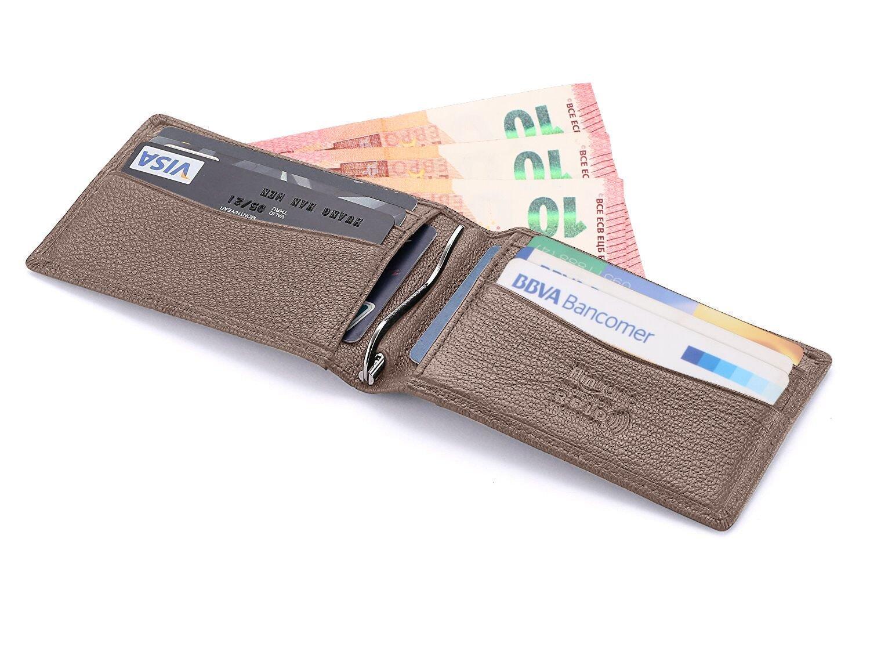 flintronic Bifold Portefeuille en Cuir, Noir Mince RFID Blocage Porte Carte de Crédit,Pince à Billets Homme 86E18294103C5C568