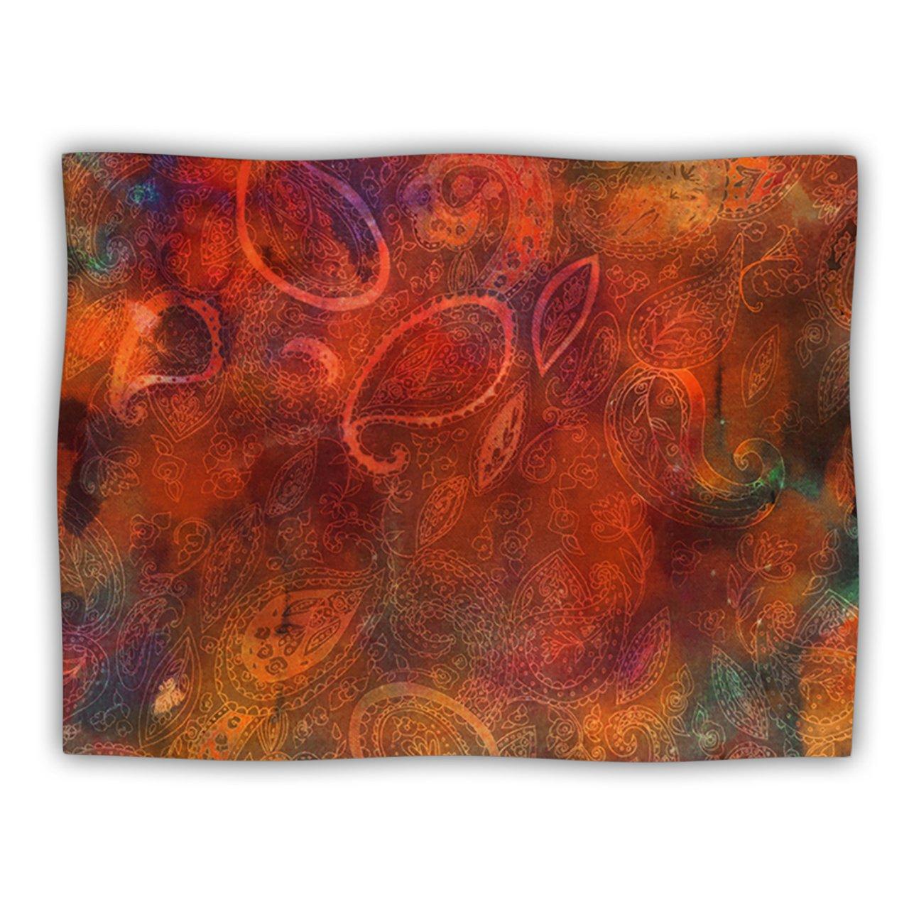 Kess InHouse Nikki Strange 'Tie Dye Paisley' orange Red Dog Blanket, 40 by 30-Inch
