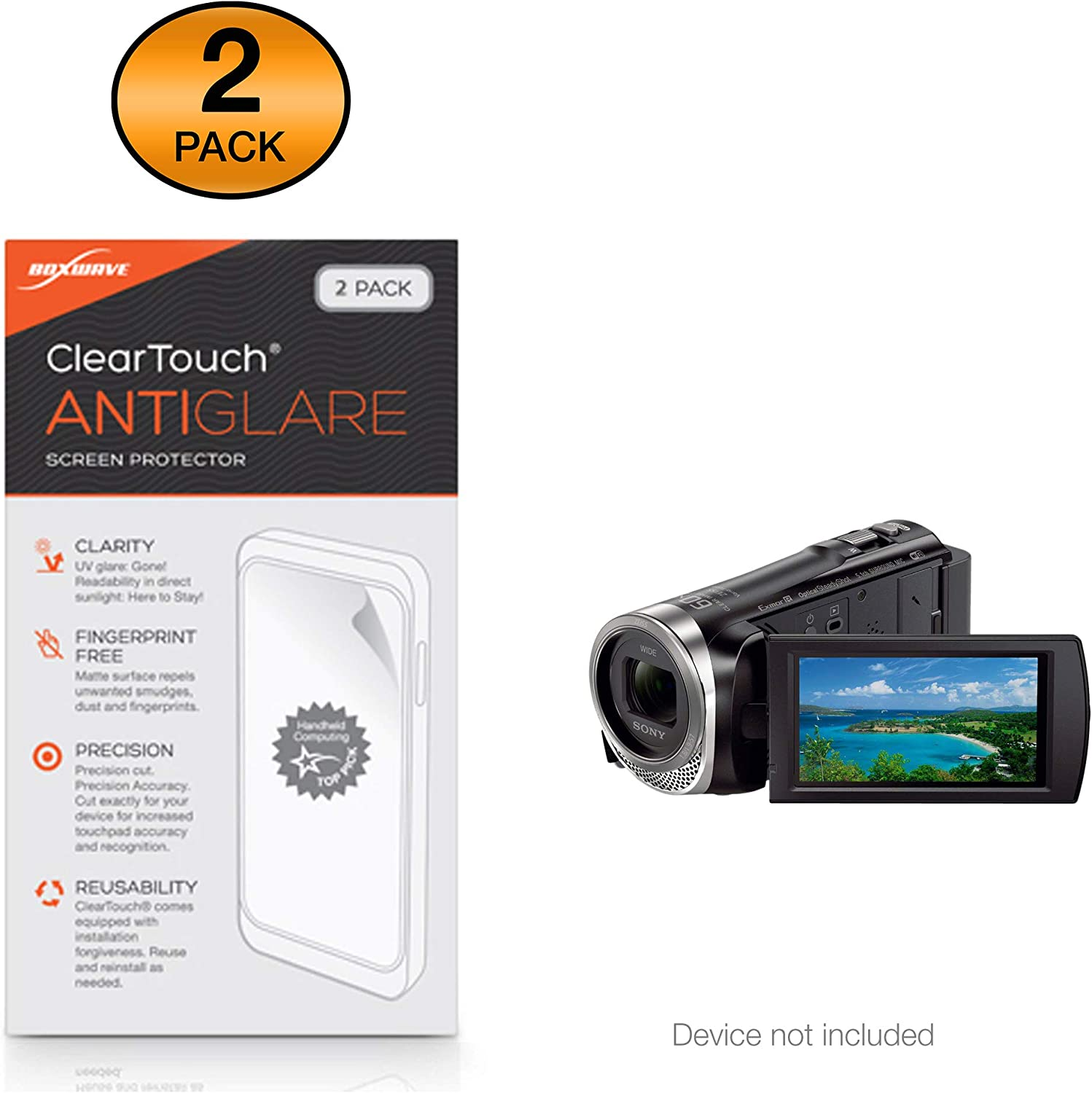 HD Film Skin Sony HDR-CX455 Screen Protector 2-Pack Shields from Scratches for Sony HDR-CX455 BoxWave/® ClearTouch Crystal