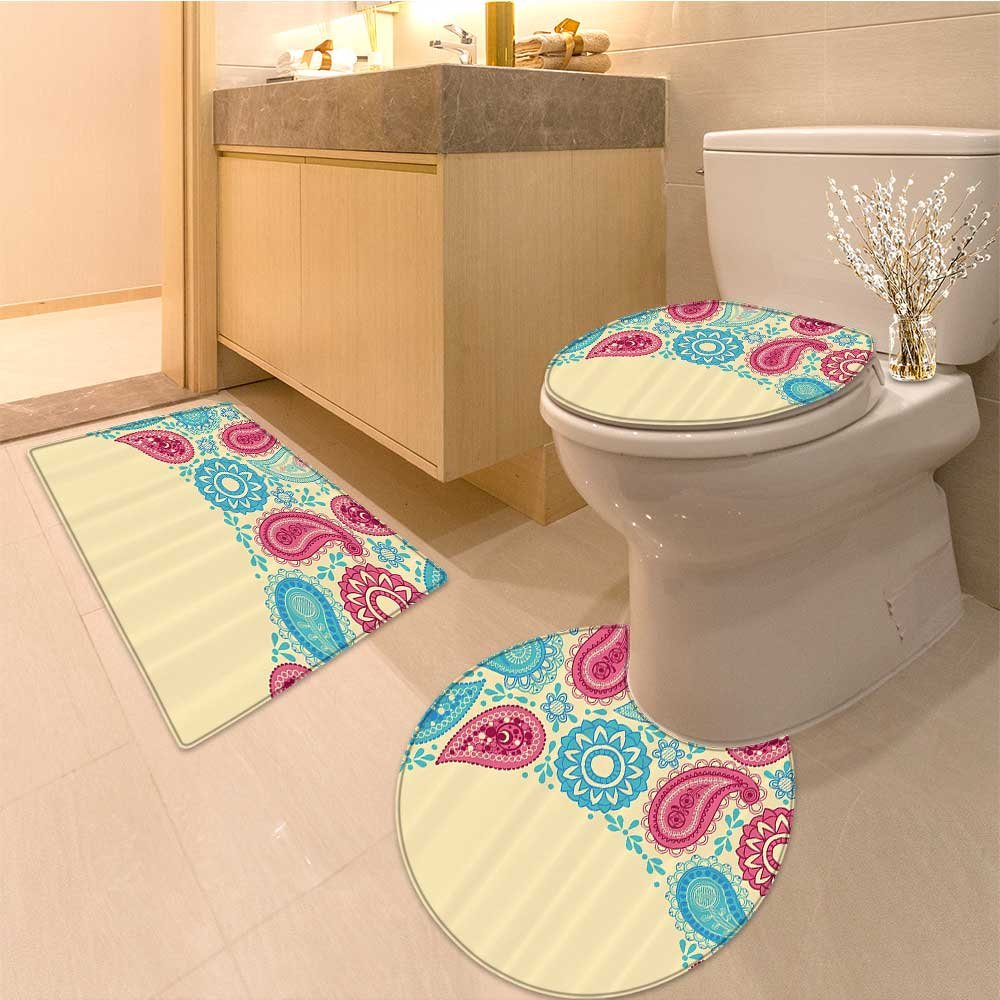 3 Piece large Contour Mat set Design with s and Ivy with Festive Air Artwork Fabric Set with Hooks Long Blue and W Bathroom Rugs Contour Mat Lid Toilet Cover