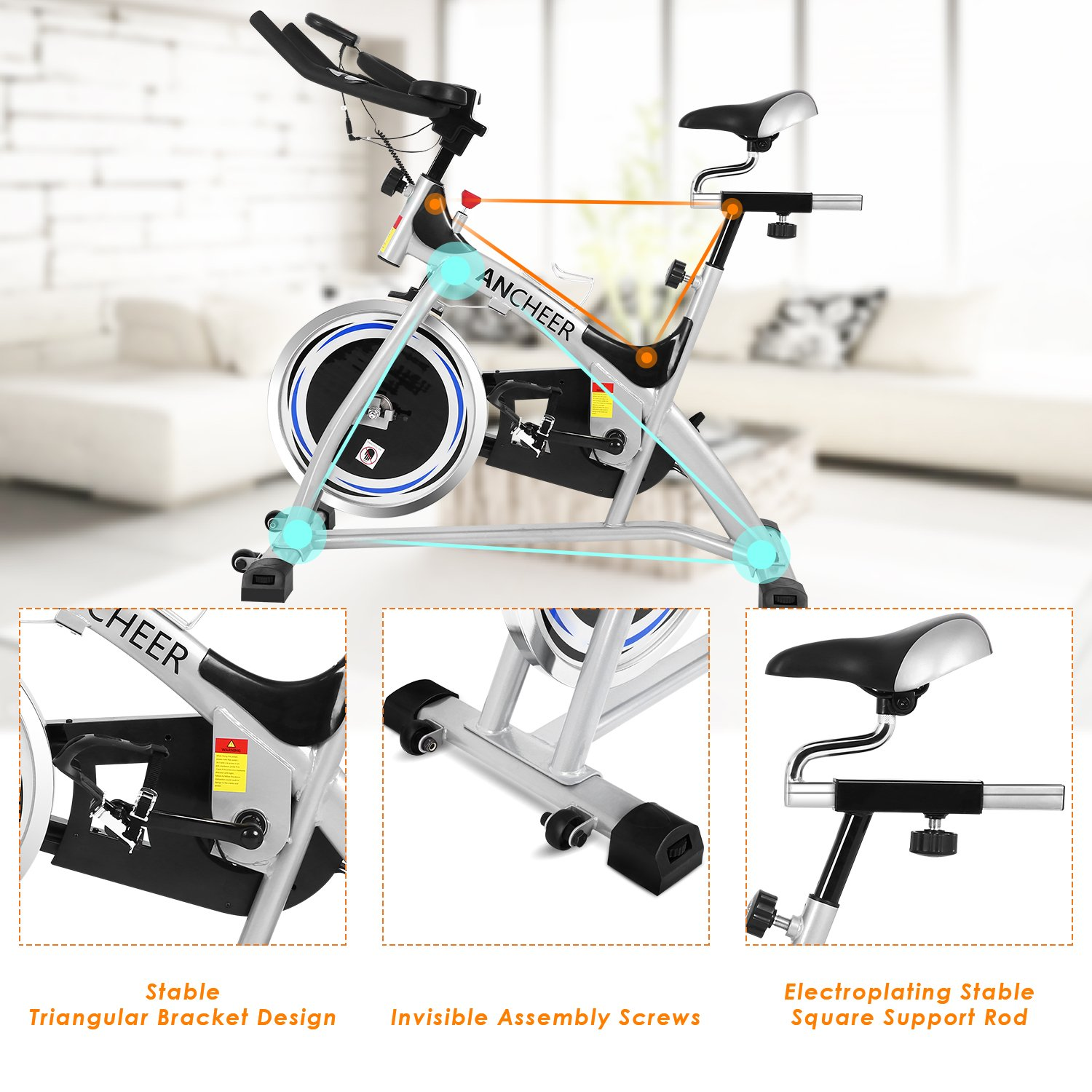 ANCHEER Stationary Bike, 40 LBS Flywheel Belt Drive Indoor Cycling Exercise Bike with Pulse, Elbow Tray (Model: ANCHEER-A5001) (Sliver) by ANCHEER (Image #9)