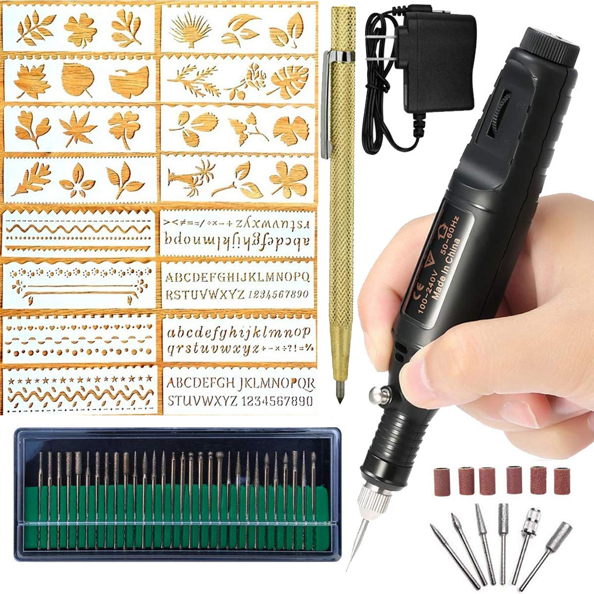 Electric Micro Engraver Pen Mini DIY Vibro Engraving Tool Kit for Metal Glass Ceramic Plastic Wood Jewelry with Scriber Etcher