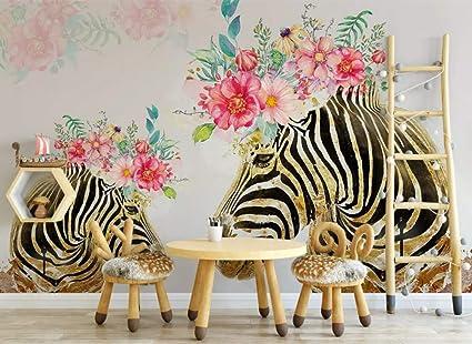 Wall Mural 3D Hand Painted Golden Zebra Flower Custom ...