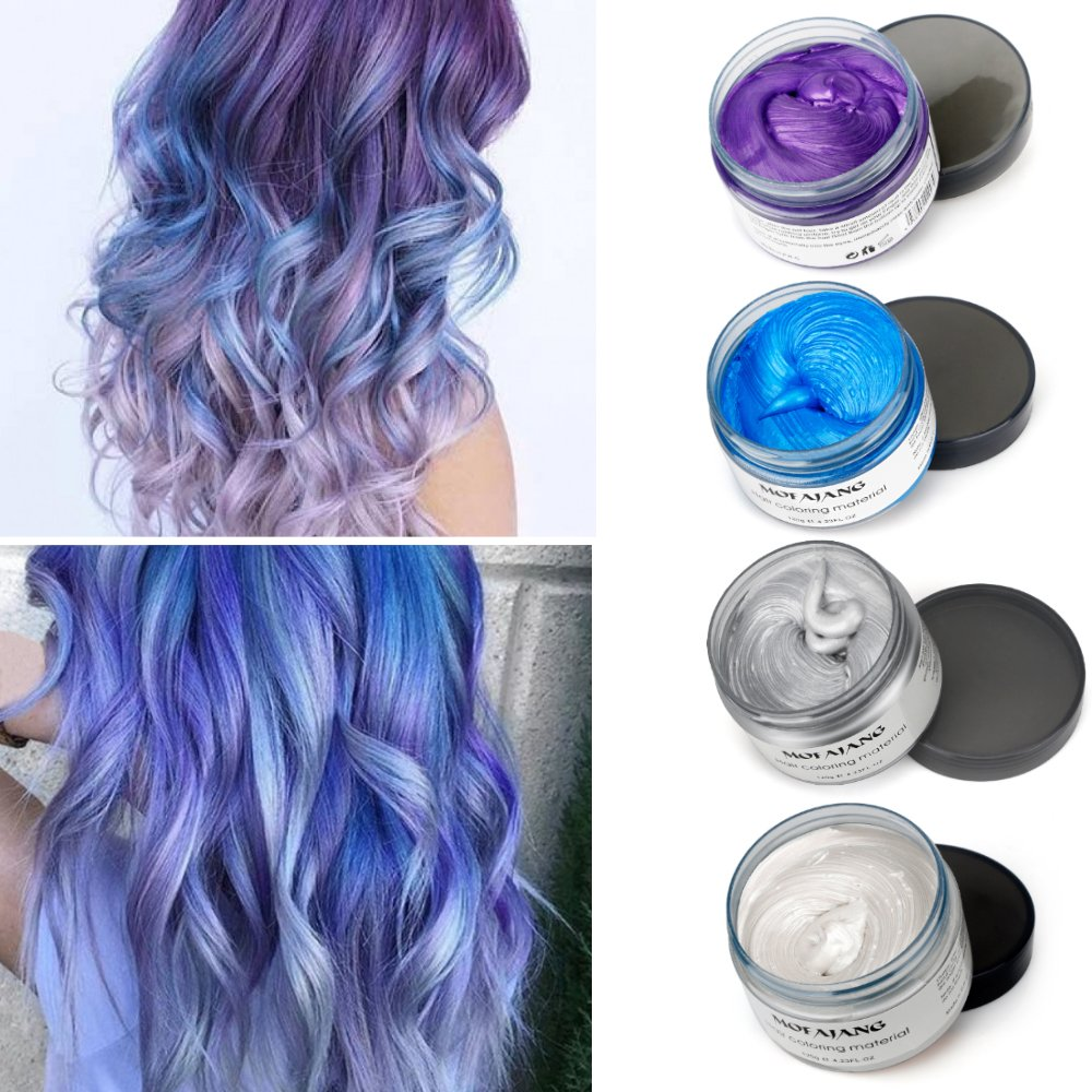 MOFAJANG Temporary Hair Color Wax 4 Colors - White Sliver Blue Purple Fun  and Effective Modeling