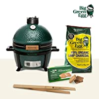 Starterset MiniMax Big Green Egg Kamado Grill grün Keramik klein Keramikgrill Grill-Set Camping Balkon Picknick ✔ Deckel ✔ oval ✔ tragbar ✔ Grillen mit Holzkohle ✔ für den Tisch