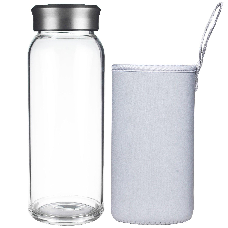 justfwaterホウケイ酸ガラスタンブラーガラス水ボトル24oz B075HV39GG  Without Infuser