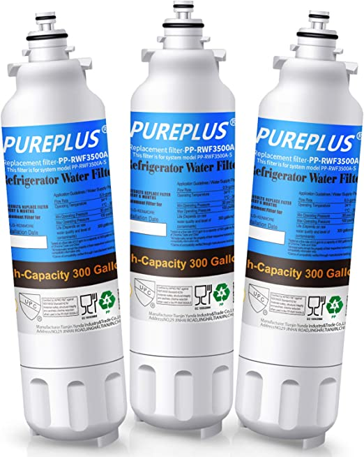 3 Pack Crystala Refrigerator Water Filter Replacement for LG ADQ73613403