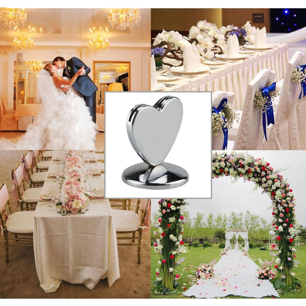 24PCS Table Number Holder,  Alloy Silver Picture & Photo Note Heart Place Card Label Stand For Wedding,  0.9'' Paper Menu Clip For Restaurant,  Tabletop Numbers ,  Food Signs,  Party, Banquet,  Office by ieasycan (Image #7)