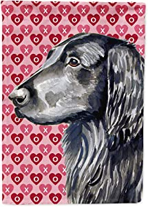 Caroline's Treasures LH9141GF Flat Coated Retriever Hearts Love and Valentine's Day Portrait Flag Garden Size, Small, Multicolor