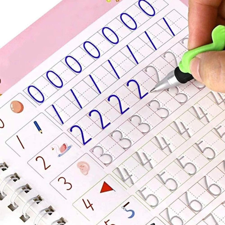 Alphabet, English, Mathematics, Drawing Reusable Magic Practice Copybook Tracing Book for Children 4pcs Magic Calligraphy That Can be Reused Handwriting Copybook for Kids