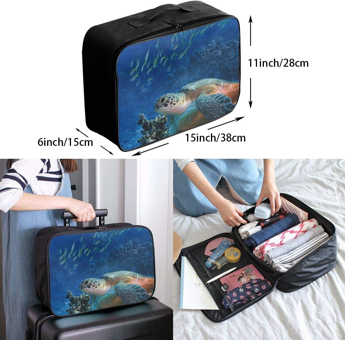 Travel Bags Ocean Turtle And Small Fish Portable Suitcase Unique Trolley Handle Luggage Bag