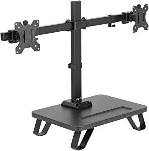 VIVO Black Freestanding Dual Monitor Stand for up to 27 inch Screens   Ergonomic Monitor Mount with 16 inch Wide Desktop Riser Storage Organizer Base   Fits VESA up to 100x100 (STAND-V102SF)