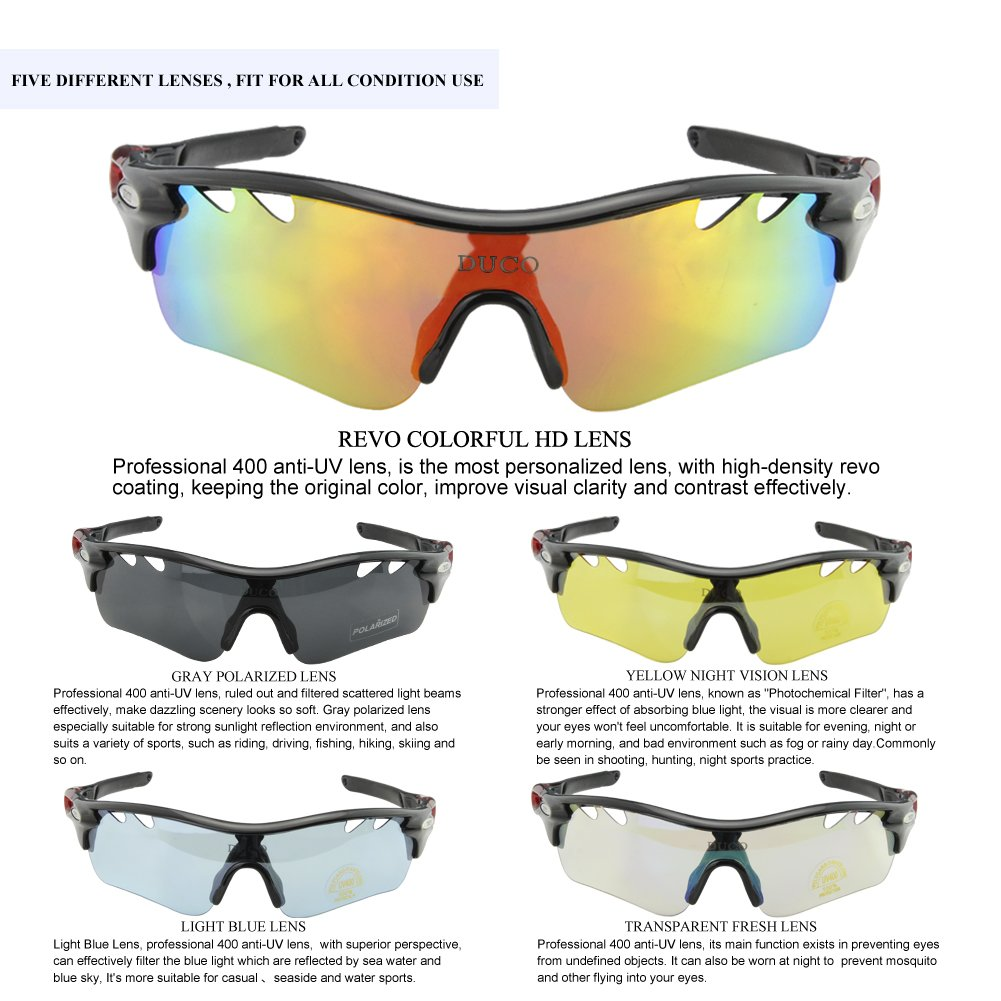 b6c8be19adfec POLARIZED Sports Sunglasses Cycling Glasses With 5 Interchangeable Lenses  Black  Amazon.co.uk  Clothing