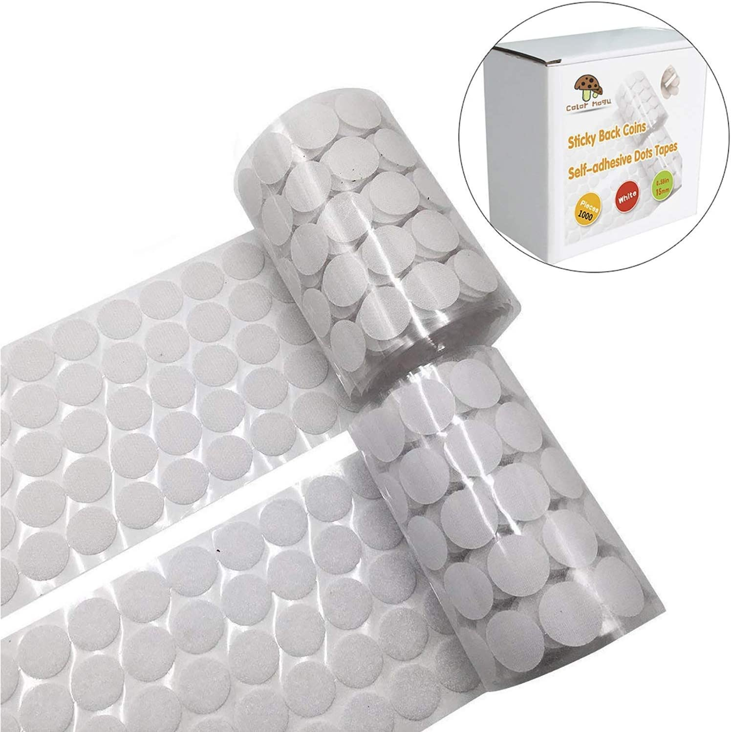 260 Pairs 3//4 Diameter Sticky Back Coins Nylon Coins Self Adhesive Dots White Perfect for School,Office Hompie 520pcs Hook /& Loop Dots with Waterproof Sticky Glue Coins Tapes Home