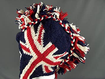 Amazon.com   Union Jack British flag mohawk ski trapper hat winter snowboard  100% wool Blue   Beauty e99224e6bcce