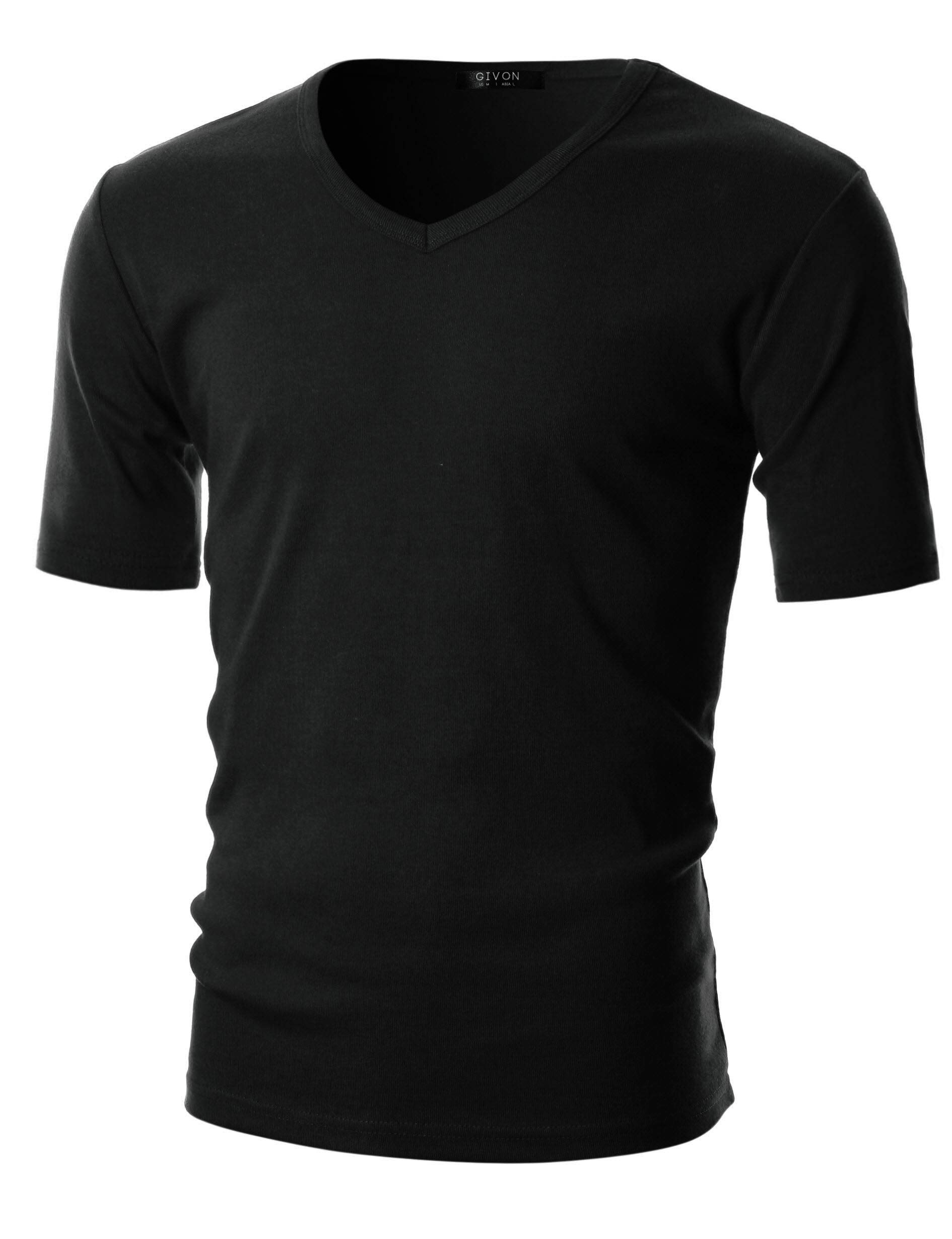 GIVON Mens Slim Fit ComfortSoft Cotton Short Sleeve Lightweight V Neck T-Shirt/DCP063-BLACK-XL by GIVON
