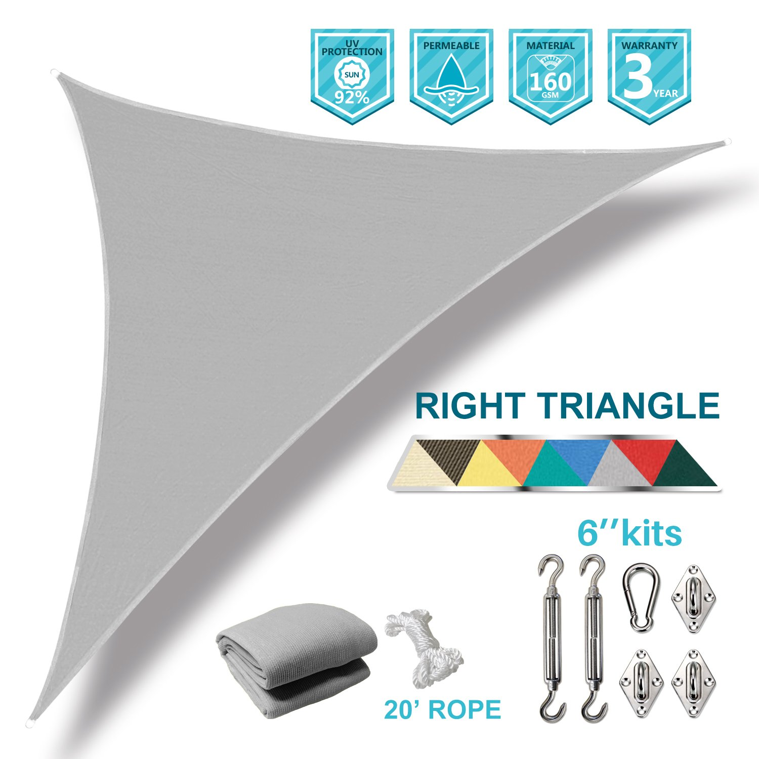 Coarbor 16'x16'x23' Right Triangle Sun Shade Sail Perfect for Patio Yard Deck Outdoor Garden with Hardware Kit UV Block Shade Cover Canopy-Light Grey