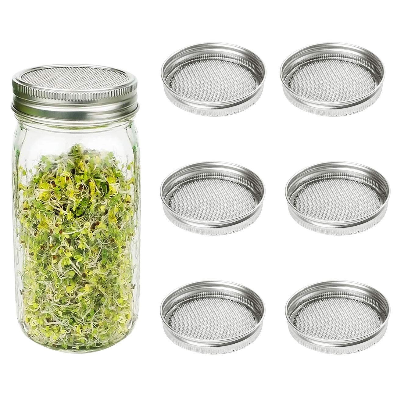 CUSFULL 6 Pack Sprouting Lids for Wide Mouth Mason Jars -Stainless Steel Strainer Lid for Canning Jars and Seed Sprouting Screen by CUSFULL (Image #1)