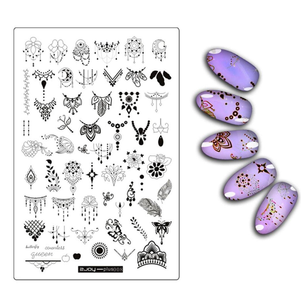 â¤JPJ(TM)❤️ Nail Art Stickers For Girls,Stickers for Nail Art Design,DIY Nail Art Stamp Stamping Plates Manicure Template Nail Stamping Plates (C)