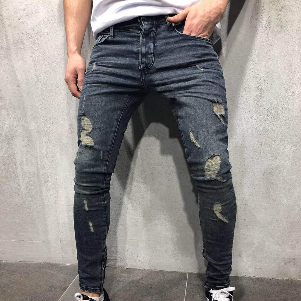 iYYVV Mens Autumn Denim Cotton Straight Ripped Hole Trousers Distressed Jeans Pants