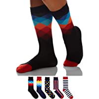 Sockyfy Socks for Men - Colorful and Fun Patterned Premium Dress Socks in Gift Box, Free Size Set of 5