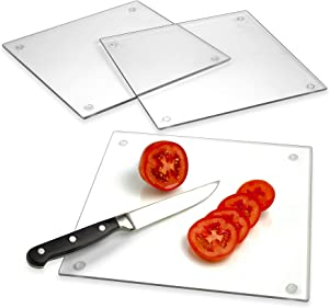 "Tempered Glass Cutting Board – Long Lasting Clear Glass – Scratch Resistant, Heat Resistant, Shatter Resistant, Dishwasher Safe. (3 Square 10x10"")"