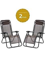 Leisure Zone® zero gravity chair Folding Reclining Chair Lounge Reclining Garden Patio Furniture Camping Chair Textoline Deck Chair …
