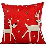 Beautyvan Soft Christmas Pillow Case Sofa Waist Throw Cushion Cover Home Decor (Red)