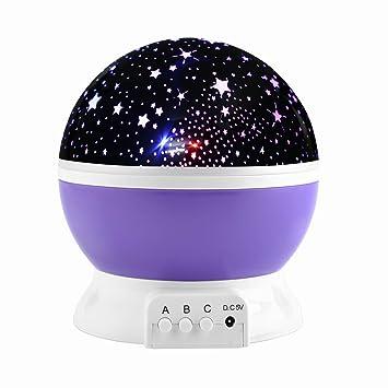 Moon Star noche Iluminación Lámpara de proyección, Colorful LED bebé Nursery Dormitorio Noche Lámpara,