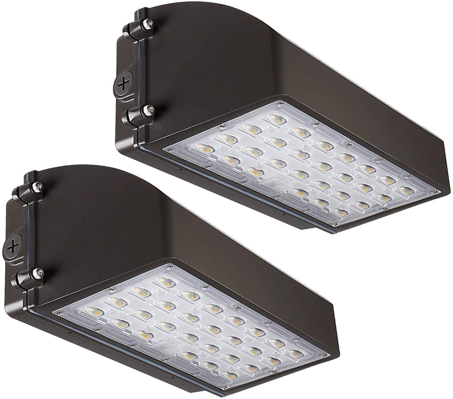 LEONLITE LED Full Cutoff Wall Pack, 45W 420W Eqv. 5850lm, UL Listed Dimmable Outdoor Commercial Area Lighting, IP65 Waterproof, for Warehouse, Backyard, Garage, Pack of 2