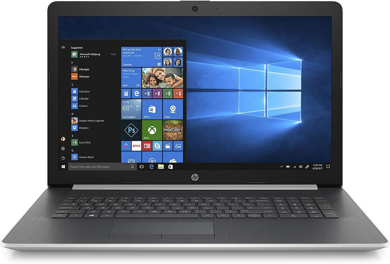 2019 Newest Premium Flagship HP Pavilion 17.3 Inch HD+ Laptop (Intel Quad-Core i7-8550U 1.8GHz up to 4GHz, 8GB RAM, 256GB SSD, WiFi, Bluetooth, HDMI, DVDRW, Windows 10) (Silver)