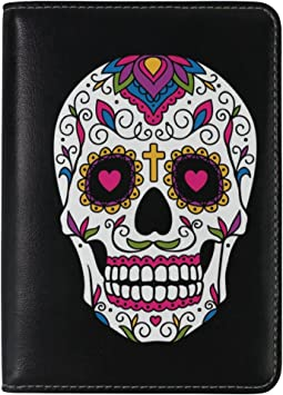 ALAZA Day of the Dead Floral Sugar Skull Leather Passport Holder Cover Case Travel One Pocket