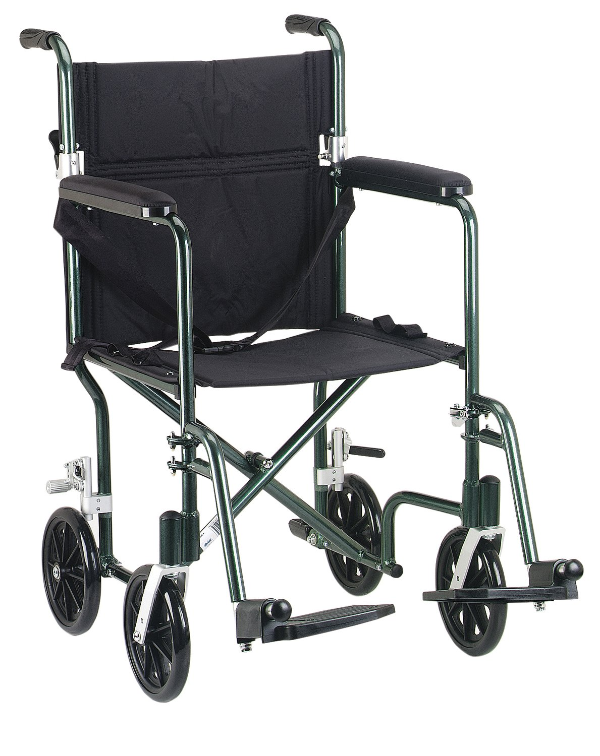 Drive Medical FW19GR Fly-Weight Transport Chair, 19 Inch, Green