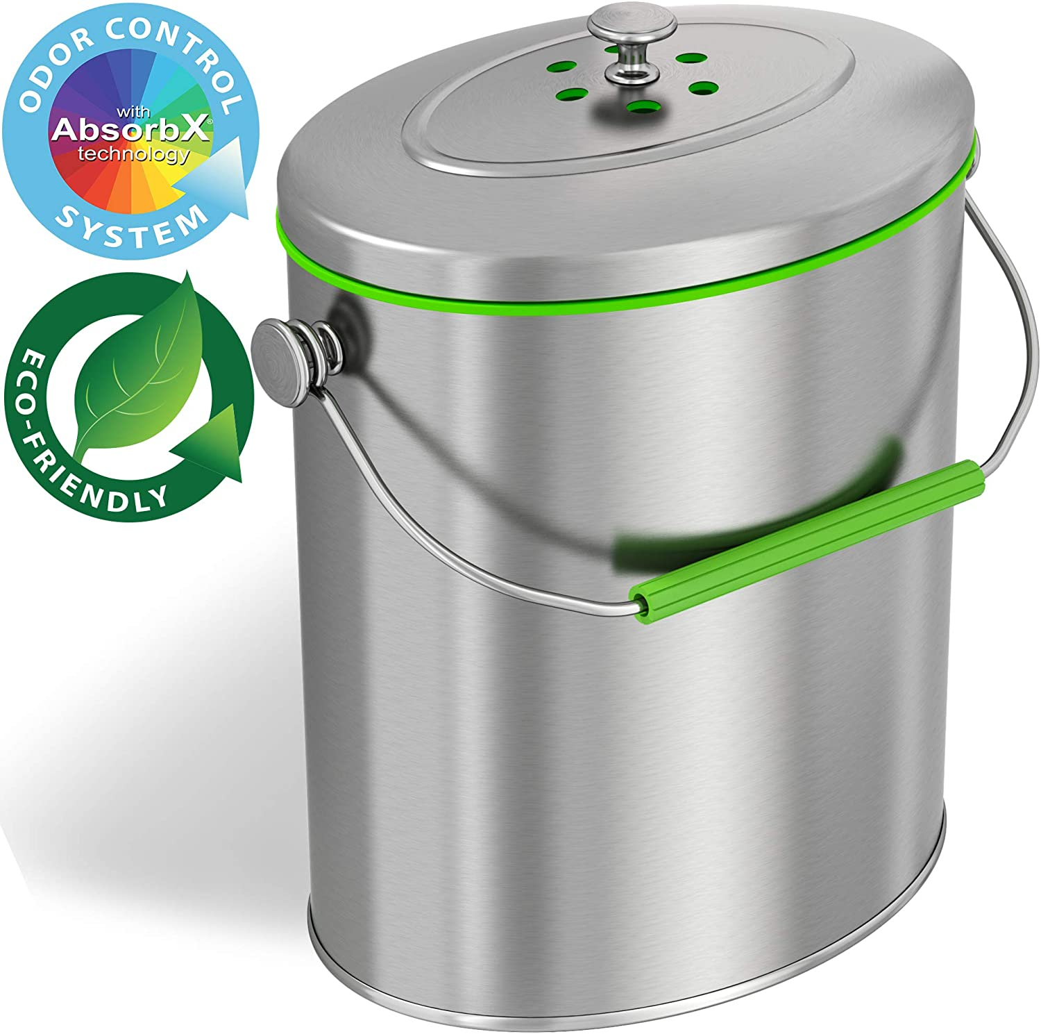iTouchless Titanium 1.6 Gallon / 6 Liter Stainless Steel Compost Bin with AbsorbX Odor Filter System, Pest-Proof, Rust-Free Oval Shape Space Saving Kitchen Countertop Trash Can