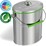 iTouchless Slim 6 Liter / 1.6 Gallon Stainless Steel Compost Bin with AbsorbX Odor Filter System, Pest-Proof, Titanium Rust-Free Space-efficient Oval Shape Kitchen Countertop Trash Can