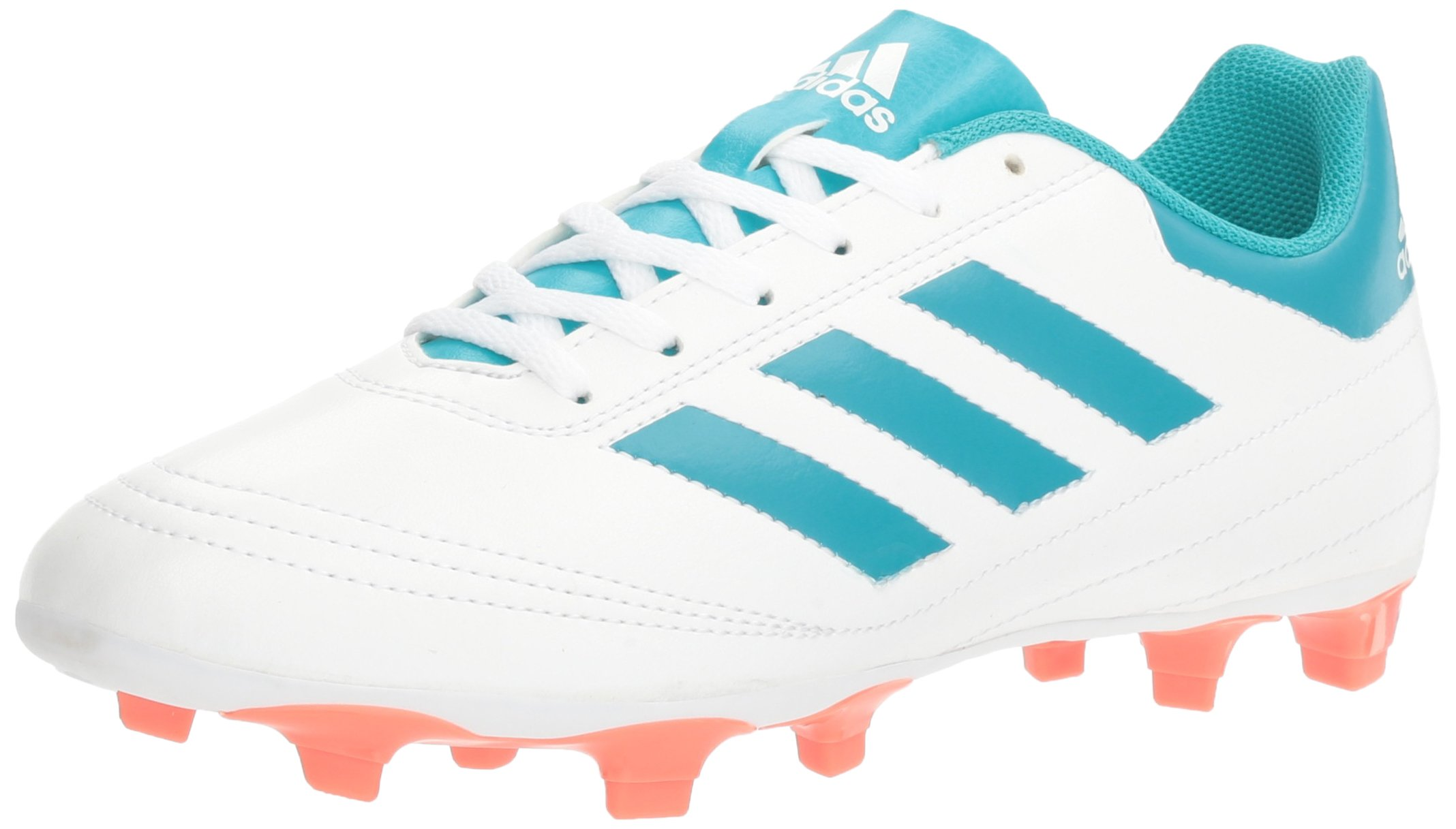 adidas Performance Women's Goletto VI FG W Soccer Shoe, White/Energy Blue Easy Coral S, 9 M US