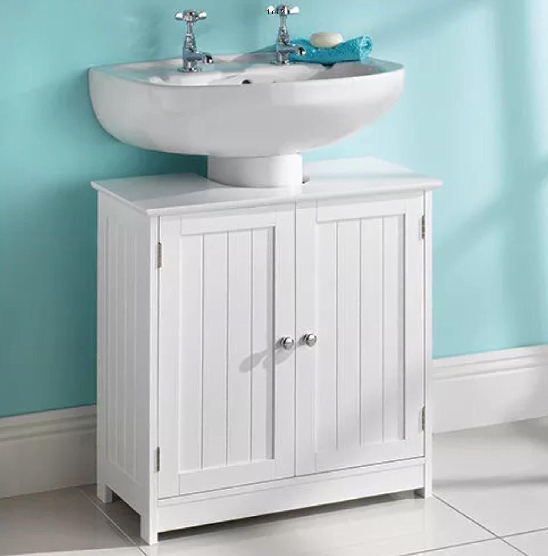Multibrand New Under Sink Storage White Wood Bathroom Furniture