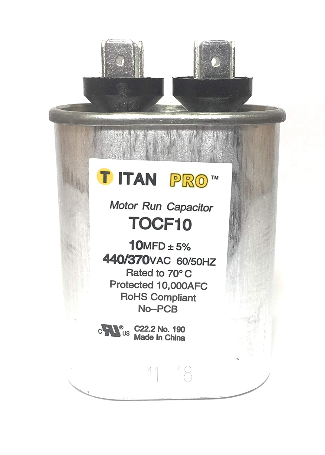 10 uf MFD 370//440 Volt VAC fits American Standard # CPT264 CPT0264 ClimaTek Oval Capacitor