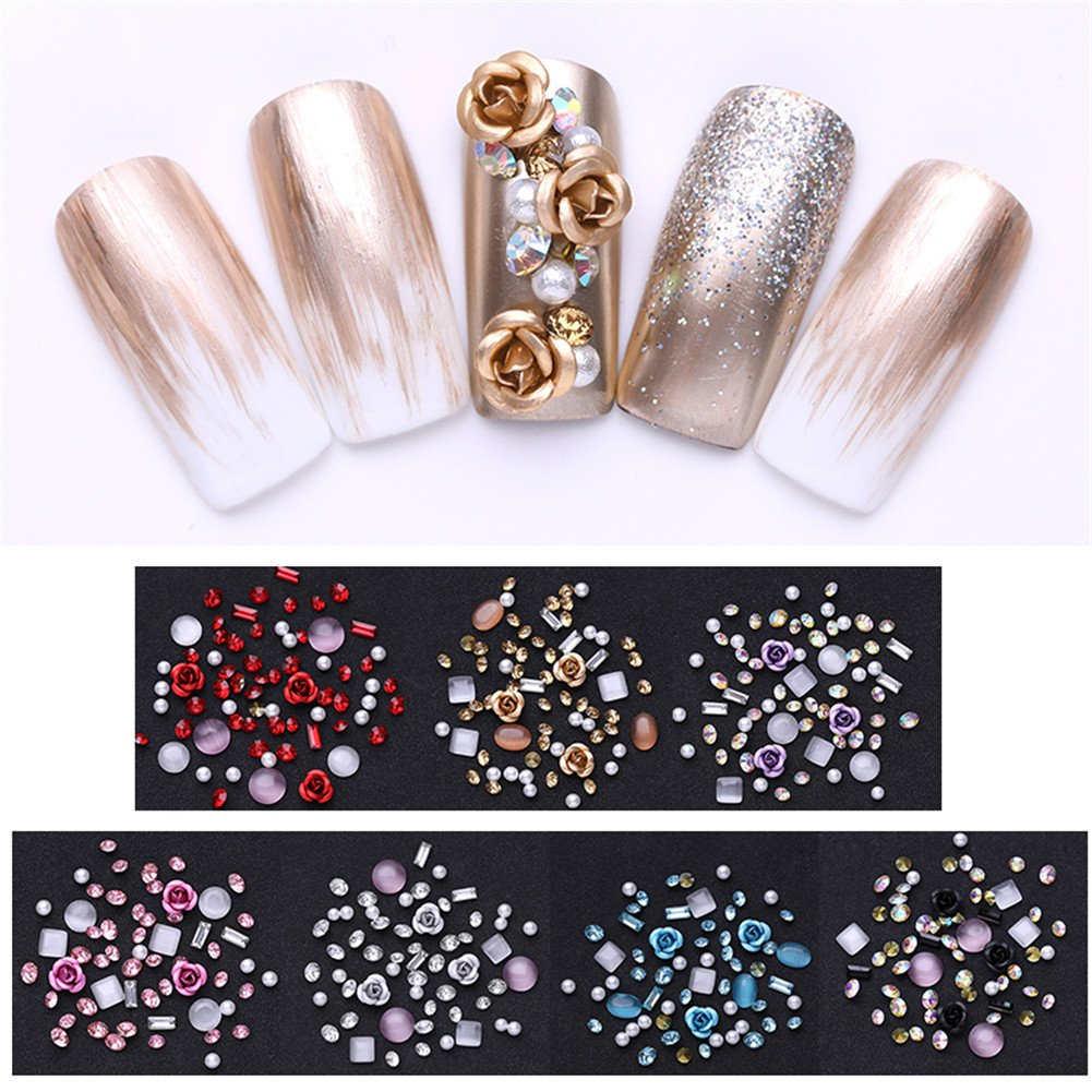 NICOLE DIARY Nail Studs Nail Rhinestones Charms Bulk Opals Crystal Gemstone Metal Rivet Square Pearl Rose Round Face Gems Beads 3D Nail Art Decoration Kit (7 Colors)