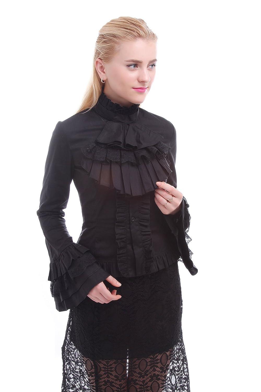 Victorian Blouses, Tops, Shirts, Vests Nuoqi Women Stand-Up Collar Lotus Ruffle Shirt Retro Victorian Lolita Blouse $49.88 AT vintagedancer.com