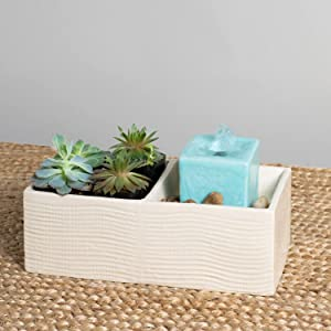 Foreside Home and Garden Cream Square Indoor Water Fountain with Pump and Planter, Brown, Blue