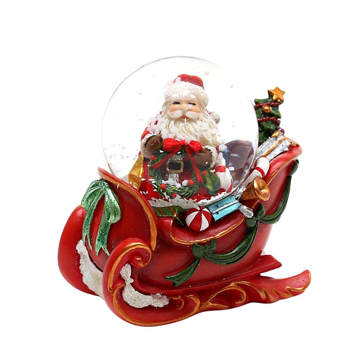 Bellisima palla di vetro con neve e base a forma di slitta, circa 5 x 7,5 cm/ Ø 4,5 cm Dekohelden24