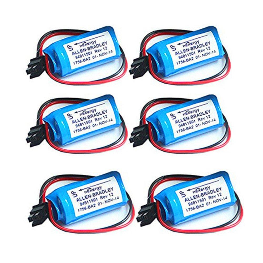 ele ELEOPTION 6 Packs Replacement Battery PLC for Allen Bradley 1756-BA2 BR2/3A-AB 3.0V 1200mAh