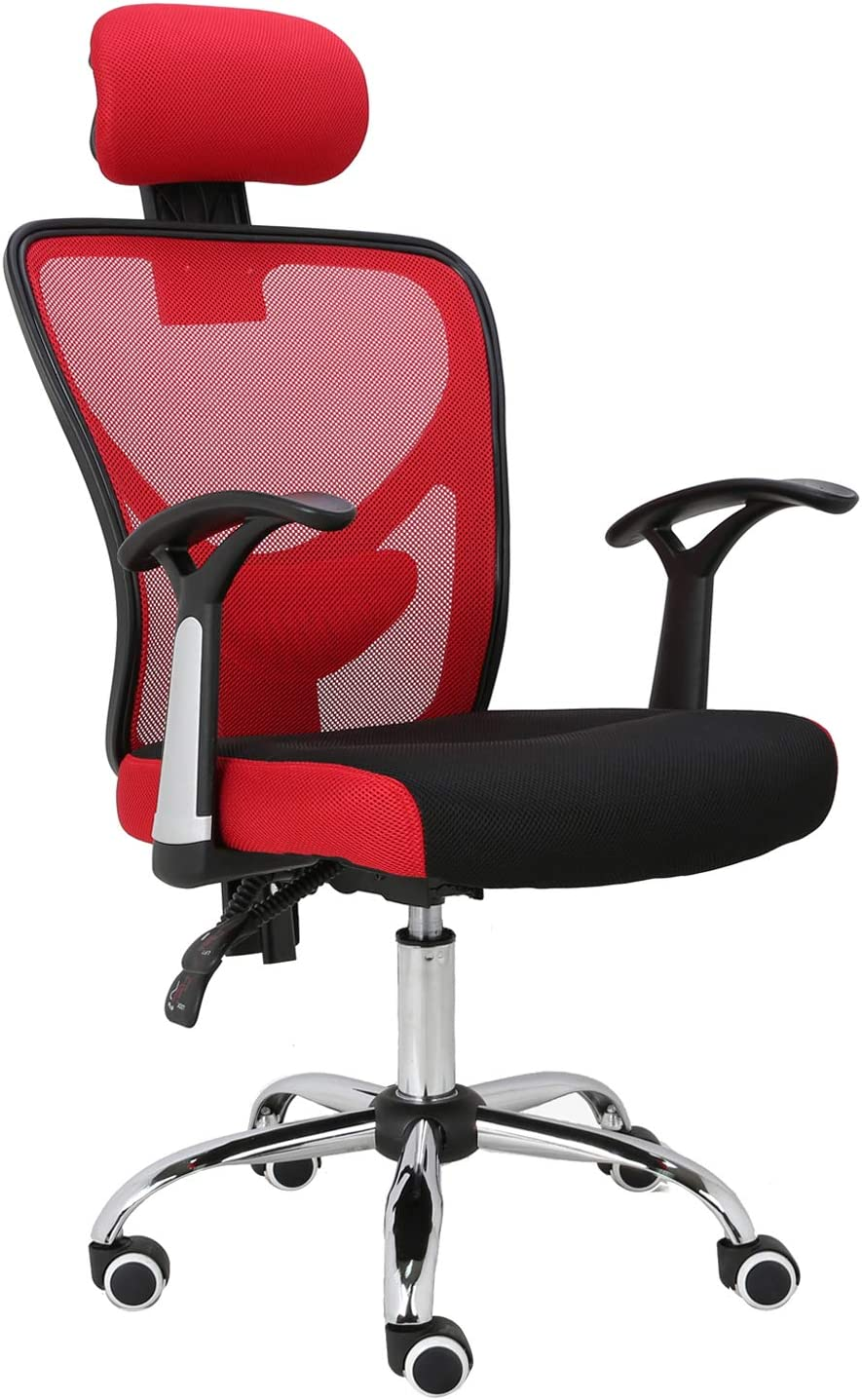 HOMEFUN Ergonomic Mesh Office Chair, Adjustable Computer Desk Chair with Headrest Comfortable Backrest Task Chair Swivel Rolling Chair, Red