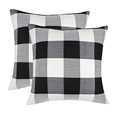 4TH Emotion Set of 2 Farmhouse Buffalo Check Plaid Throw Pillow Covers Cushion Case Cotton Linen for Fall Home Decor Black and White, 24 x 24 Inches