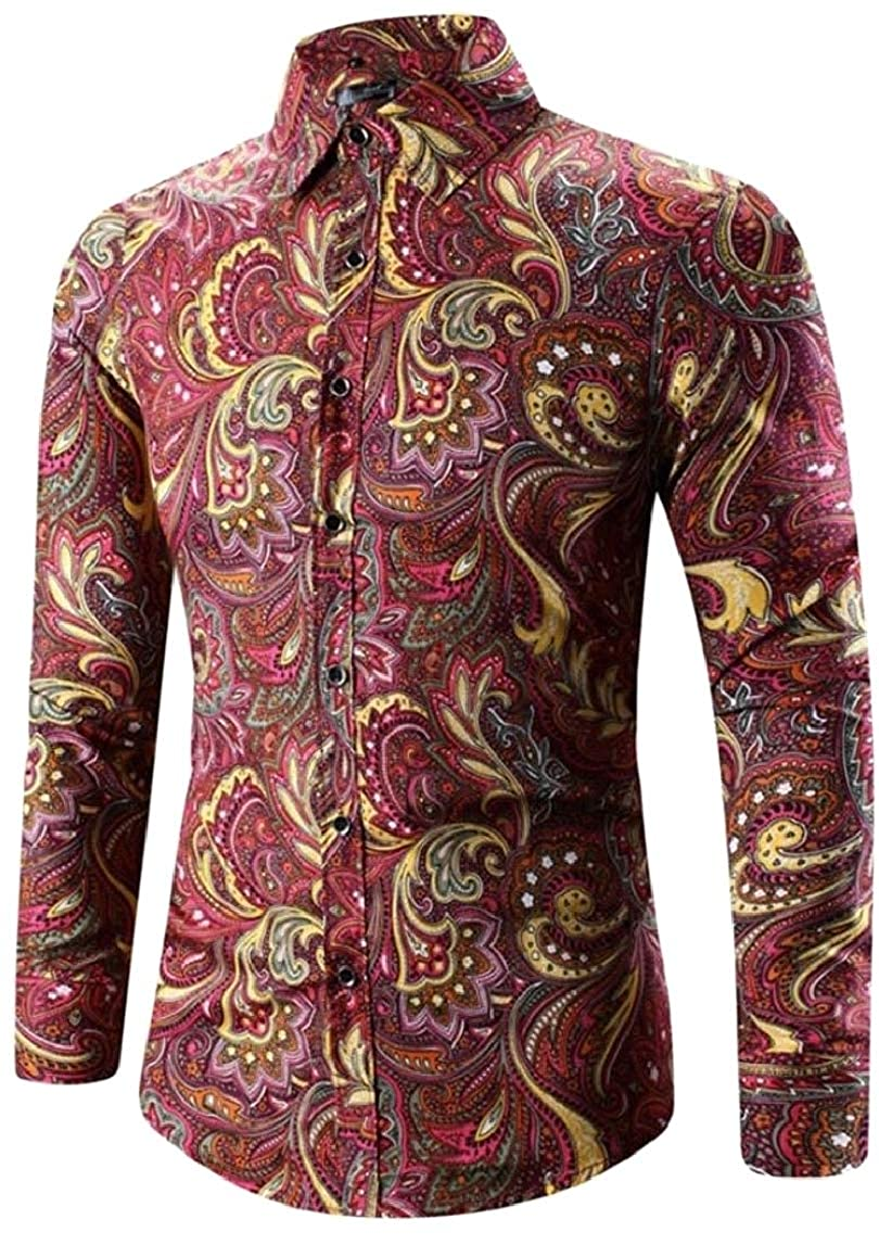 Jmwss QD Mens Lapel Printing Long Sleeve Slim Button Down Dress Shirts